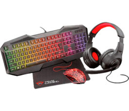 COMBO 4 EN 1 GAMER TRUST GXT 1180RW TECLADO+AUDIFONO+MOUSE+PAD MOUSE
